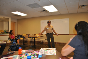 An individual giving a presentation