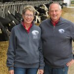 Daphne with her husband Lloyd at their farm, Rosy-Lane Holsteins