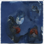 Tomiko Jones created this cyanotype while on the Wisconsin Idea Seminar -- using cranberries and water from Gottschalk Cranberrry.