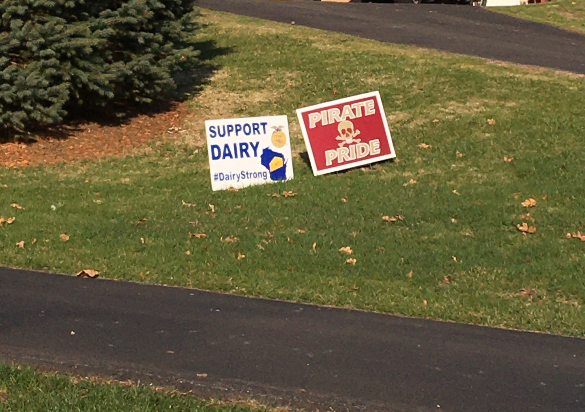 A show of support in the De Soto community for the school and the agricultural industry. They are seeing many dairy signs pop up next to the traditional Pirate Pride signs.