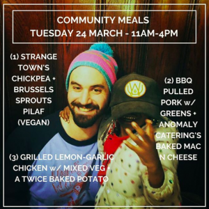 Image from Tandem's Instagram account of two people, with an announcement about community meals on March 24th.
