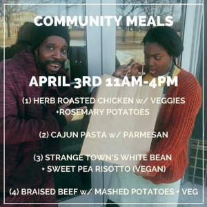 Image from Tandem's Instagram account of two people posing with bags of food, with an announcement about community meals on April 3rd.