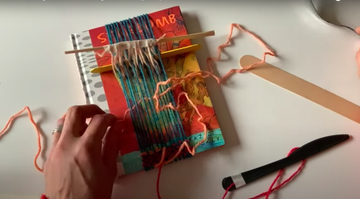 """An image from Marianne Fairbanks's """"book weaving"""" video tutorial."""