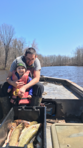 Dylan Jennings out on the water in Spring, 2020, with his eldest daughter. They caught walleye and pike, a nice assortment of fish. (Submitted photo)
